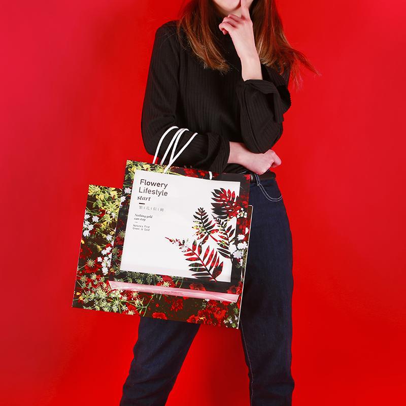 新品繁花似锦精美礼品袋服装包装袋高档手提袋纸袋大号购物袋定制