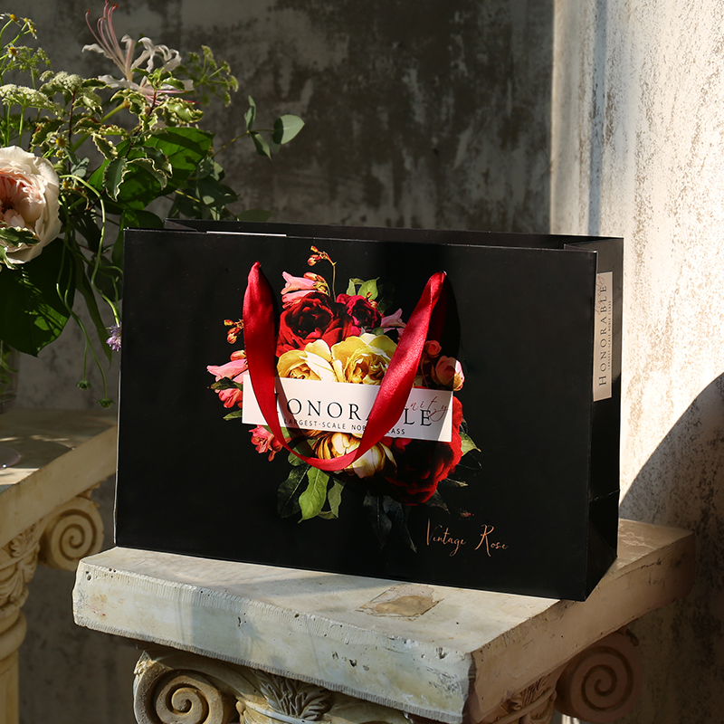 定制定做生日婚庆高档黑色复古礼品袋加厚手提袋购物包装纸袋子