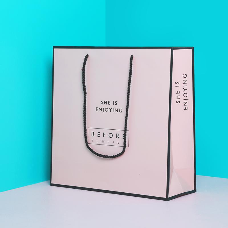 定制定做粉色时尚高端婚庆礼品袋手提袋纸袋服装购物包装袋子包邮