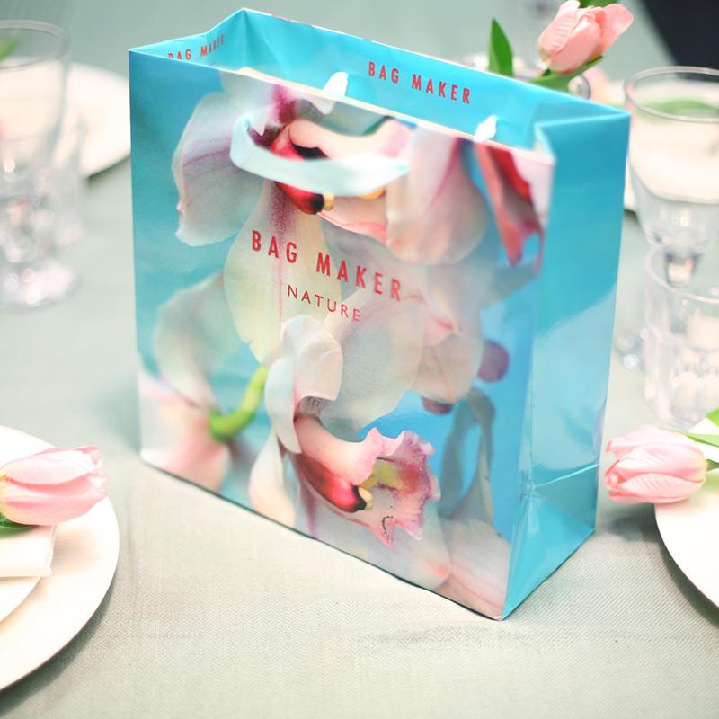 韩版精美蓝彩色时尚迷你方形小礼品购物纸袋 加厚高档手提袋制作