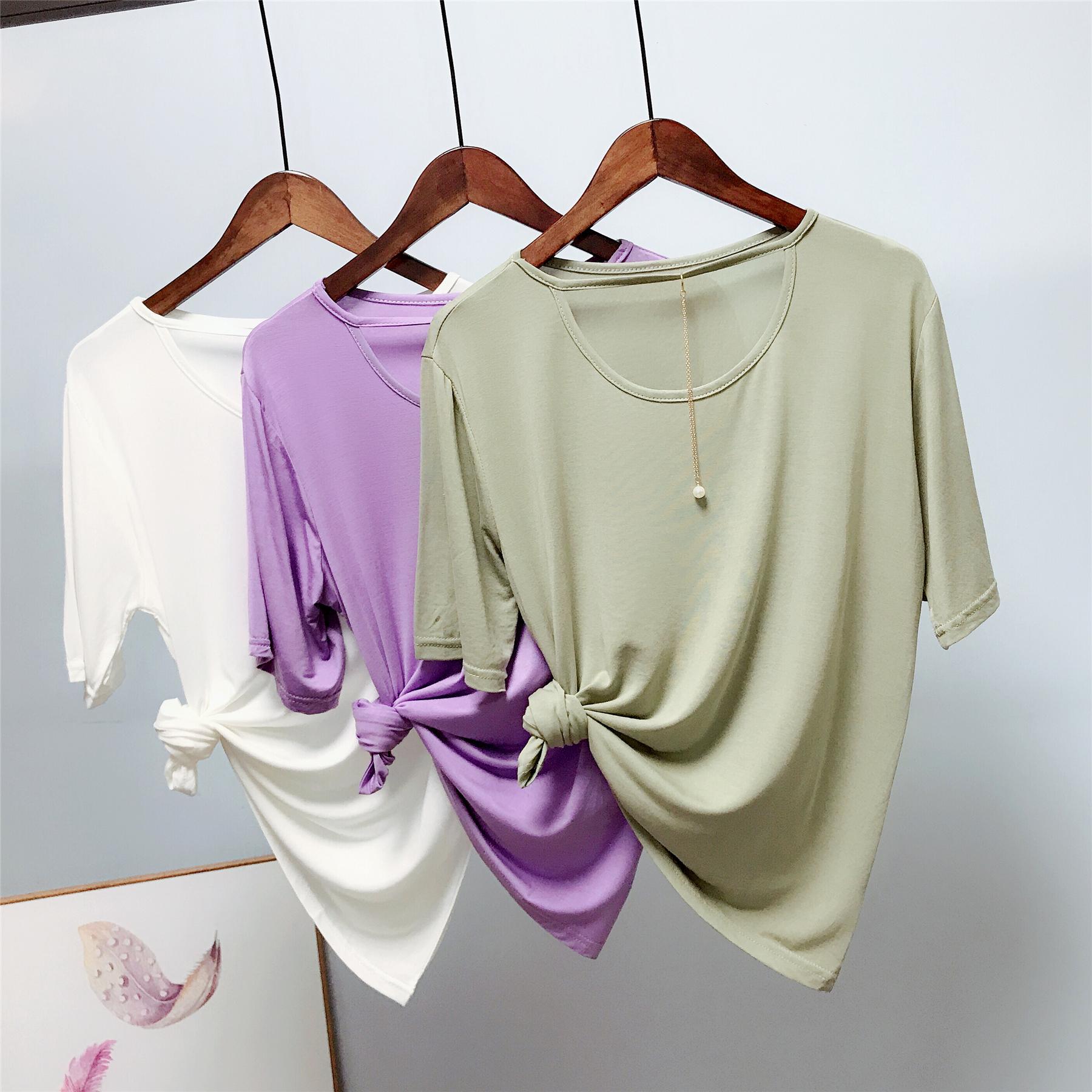 【清亏29.9,最后100件】柔滑如肌肤 三色 珍珠链条丝光棉短袖T恤