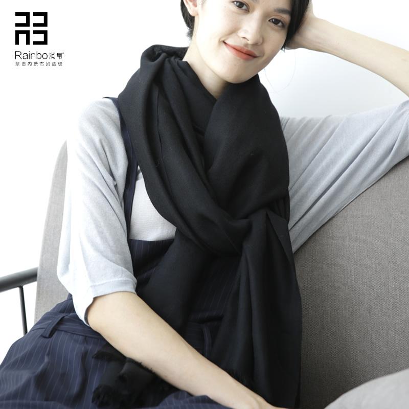 Runbo 2019 new spring and winter Korean black wool scarf shawl women solid color Korean version dual purpose super long thin