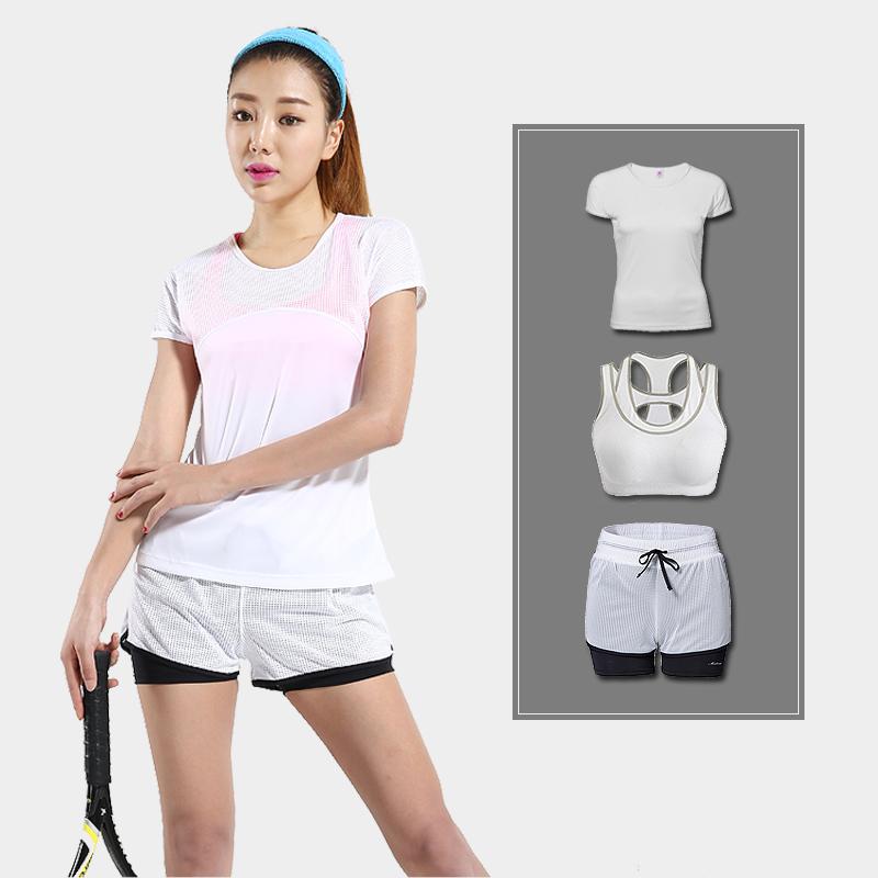 运动三件套女夏跑步健身瑜伽休闲运动套装女速宽松干短袖透气短裤