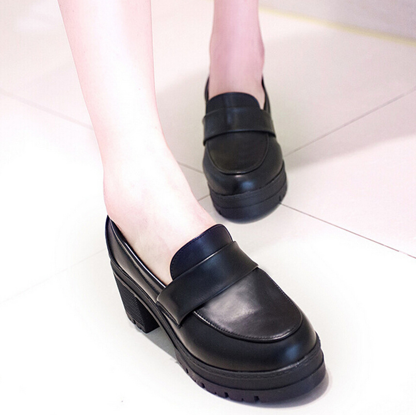 New JK muffin bottom Lolita shallow mouth student shoes thick heel single shoes Cosplay uniform shoes womens shoes college style