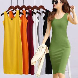 夏季新款牛油果绿内搭连衣裙女修身显瘦背心长裙包臀网红打底衫潮