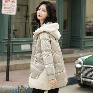 羽绒服女装中长款2019新款小个子冬季外套时尚短款羊毛领爆款韩货