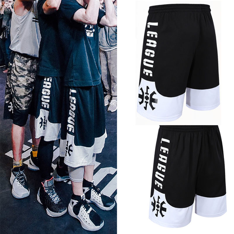 Basketball pants, sports shorts, mens summer running, loose size, over knee, 5-point pants, fitness training, quick drying shorts