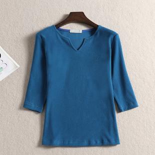 春秋女裝大碼七分袖純棉磨毛T恤V領女士簡單四季打底衫t恤上衣夏