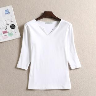 修身 七分袖 女士中袖 磨毛纯棉打底衫 倩之诺品牌女装 春秋新款 T恤