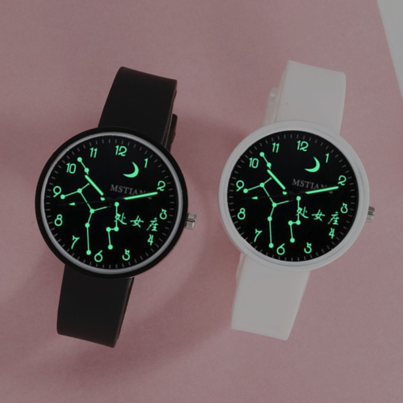 Korean fashion simple 12 constellations silicone luminous watch girl student best friend couple versatile jelly quartz watch