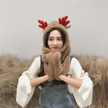 韩版帽子围巾手套三件套女双层加厚保暖圣诞礼物围脖套帽学生一体