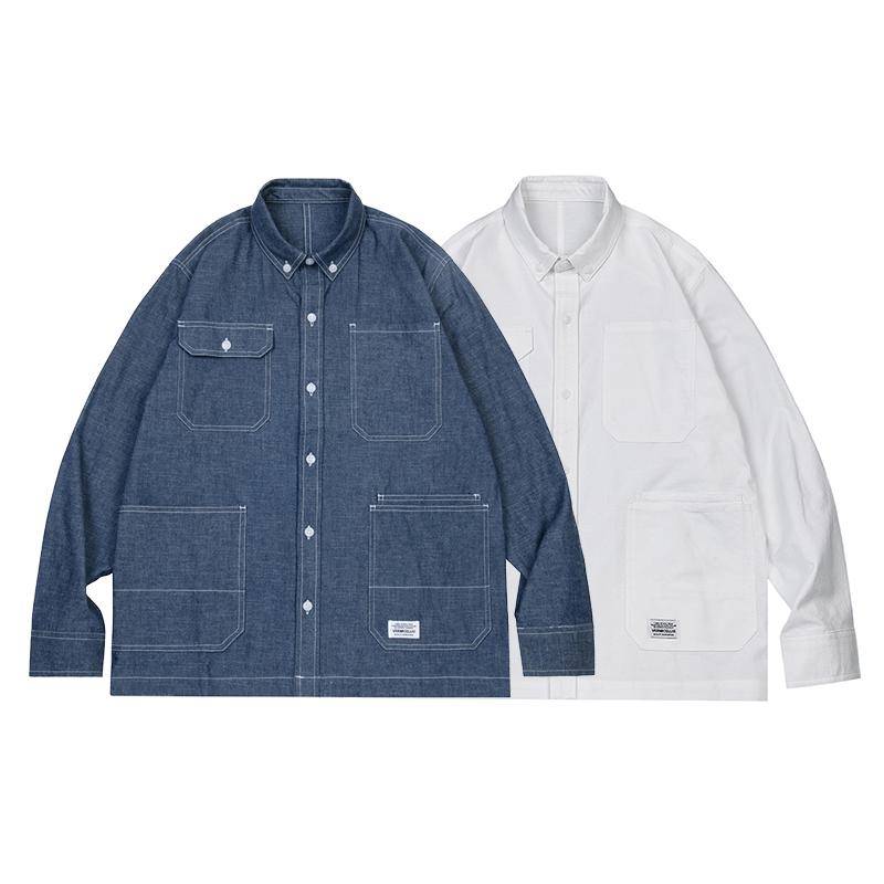 有赠品VERMICELLI vmcl 19SS 复古四袋宽松工装青年牛仔/白色衬衫外套