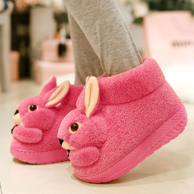 棉拖鞋女韩版厚底防滑冬季可爱流氓兔孕妇家用月子鞋家居毛毛鞋子
