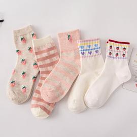 坚果妈咪 粉色系可爱草莓袜子女秋季韩国日系软妹学生条纹中筒袜