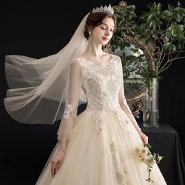 轻主婚纱2020新款新娘豪华奢侈拖尾显瘦香槟色长纱袖简约齐地秋冬