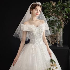 轻主婚纱2020新款新娘香槟色结婚礼服森系显瘦简约一字肩齐地女