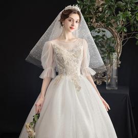 主婚纱2020新款新娘结婚大码泡泡袖绑带森系简约小个子齐地出门纱