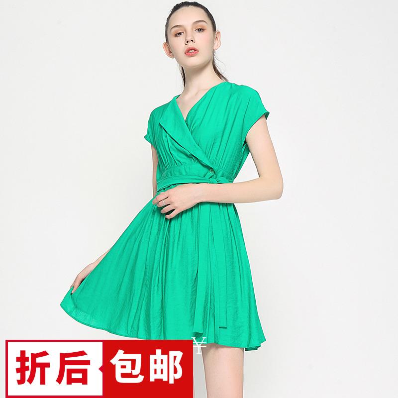 【4.5折包邮】QB系列杭派女装品牌剪标折扣尾货夏修身简约连衣裙