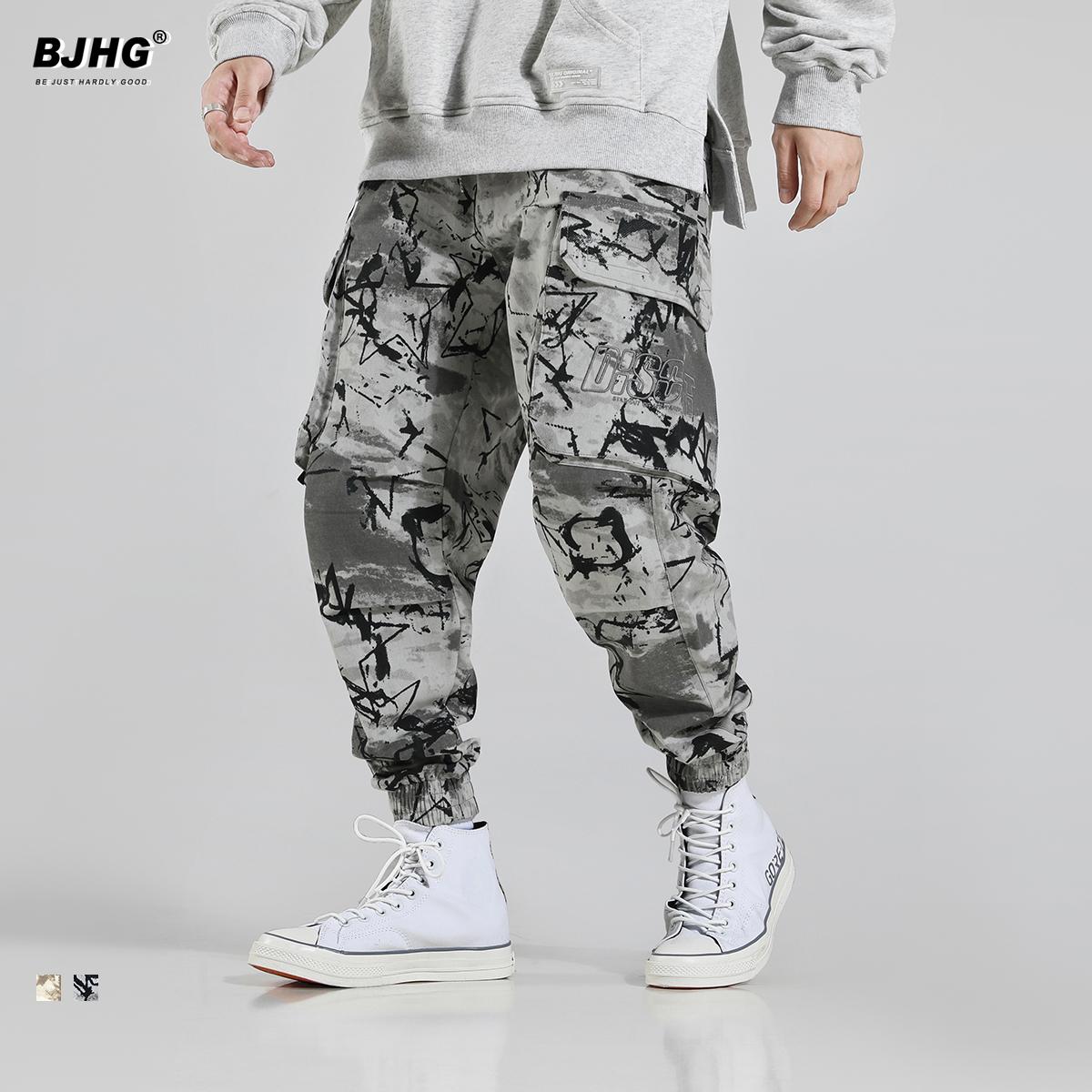 bjhg秋迷彩工装男国潮字母刺绣裤子(非品牌)