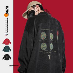 BJHG自制春季高街灯芯绒衬衫日系潮牌男宽松情侣21SS长袖衬衣外套