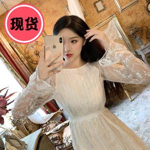 2019新款气质轻奢女装白色亮片连衣裙羽毛仙女姐妹团伴娘新婚礼服