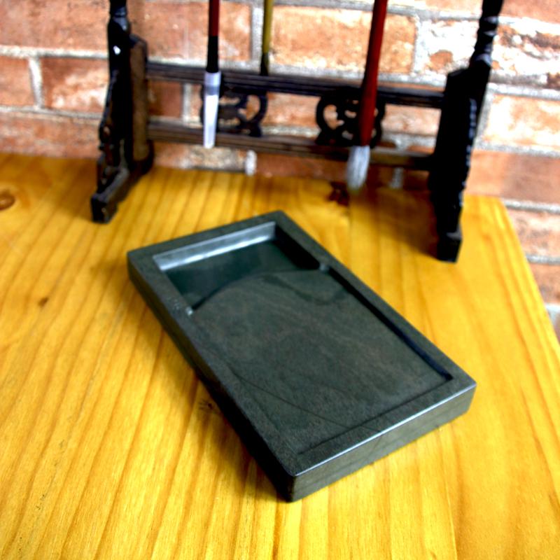 砚台原石天然绿端砚学生成人用书法绘画用品文房四宝高档磨墨墨盒