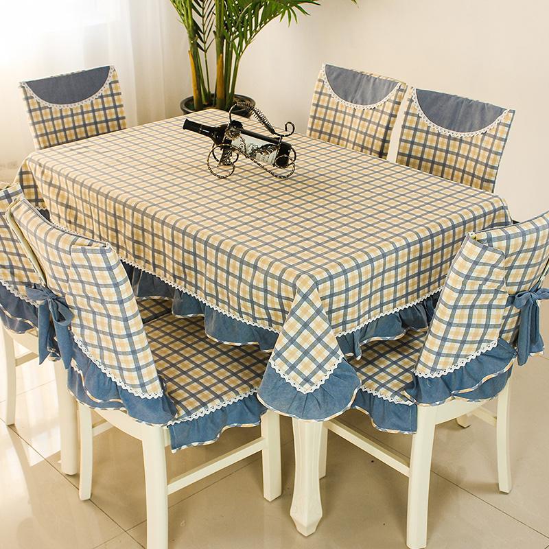 格子餐桌布椅套椅垫套装椅子套罩长方形台布茶几桌布布艺简约现代