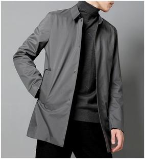 男风衣春季 纯色简约男士 新款 高端压胶中长款 翻领外套薄也有夹棉款