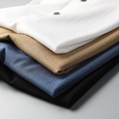 享受高端 感受细腻 进口伊力特丝16针修身 薄款针织翻领短袖T恤男
