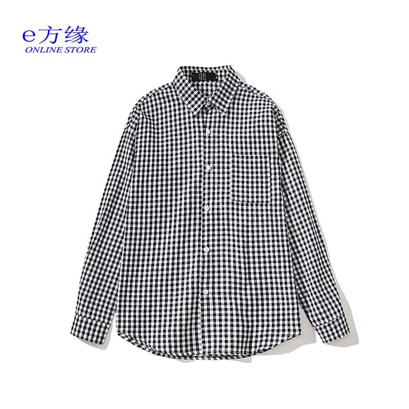 Guochao black and white thousand bird check shirt e-square edge small check ground wool long sleeve student leisure Japanese loose top men