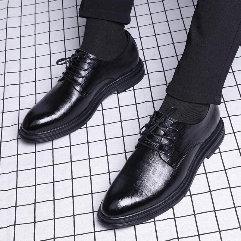 商務正裝休閑鞋英倫潮流透氣新郎真皮內增高韓版黑色皮鞋男士夏季