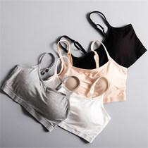 纯棉抹胸带胸垫一体式无钢圈文胸内衣女学生少女吊带背心睡眠运动