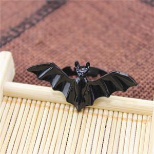 个性欧美时尚朋克开口可调节黑色蝙蝠戒指925银针耳钉手链项链