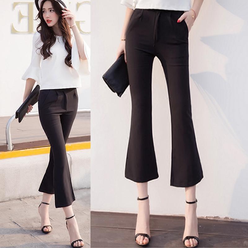 Spring / summer 2020 micro flared Pants Capris high waist flared pants Wide Leg Pants Capris black womens pants casual pants pants
