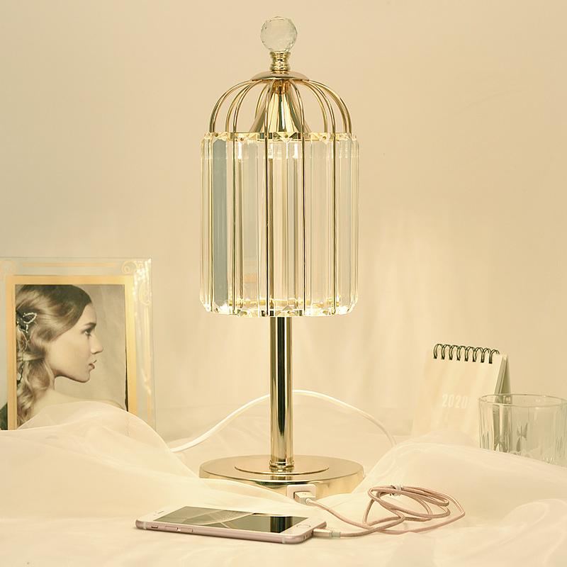 轻奢水晶床头灯ins少女创意台灯