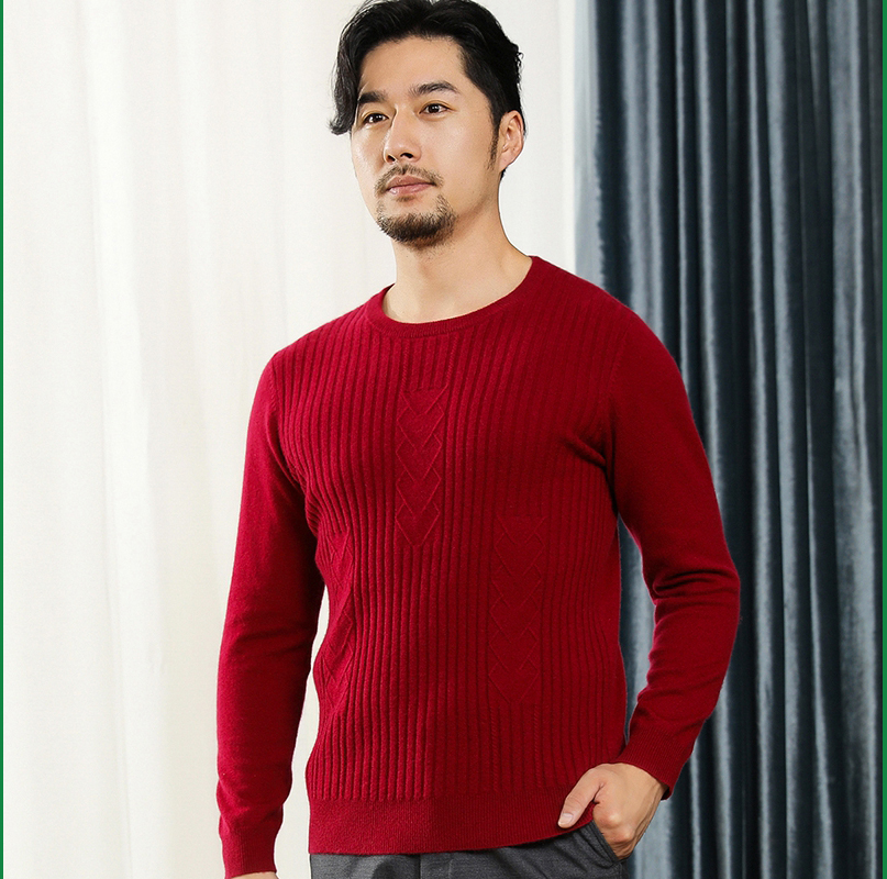 Mens cashmere sweater round neck vertical stripe knitted sweater casual sweater with solid color backing Pullover Korean threaded sweater