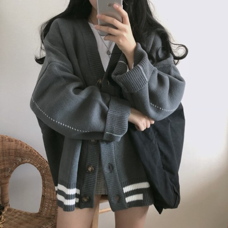 Sweater womens autumn and winter ins lazy waitmore cardigan knitted coat loose Korean fashion students outerwear