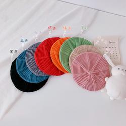 儿童帽子秋款洋气时尚贝雷帽英伦复古韩版日系针织西瓜帽可爱公主
