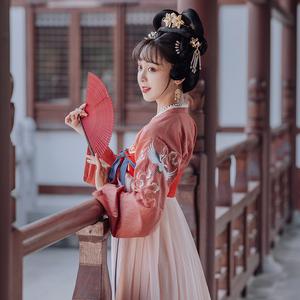 重回汉唐原创汉服女列仙直领对襟衫绣花齐胸襦裙5米大摆中国风
