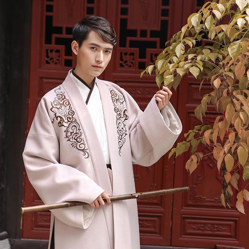 Вес возвращение китайский династия тан олень скрытый китайский одежда мужчина вышитый имитация шерсти частица для вопросительного предложения короткий Палка один кусочек ткани поверх другого сын традиция ежедневно древний вышивка пальто ветер весна
