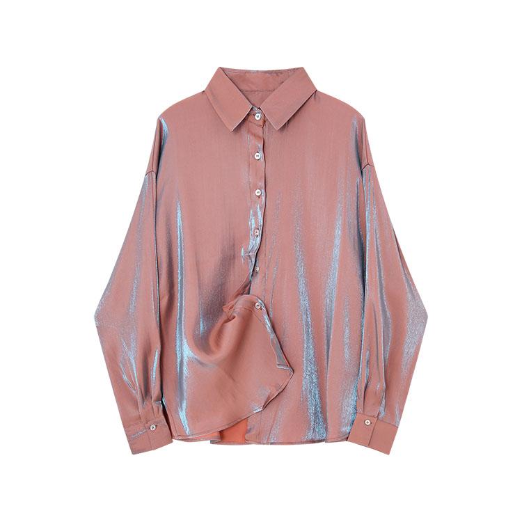 11-30新券人鱼姬复古女设计感小众光泽感衬衫