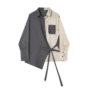 衬衫女长袖2021春秋设计感小众绑带心机上衣宽松BF拼色不规则外套