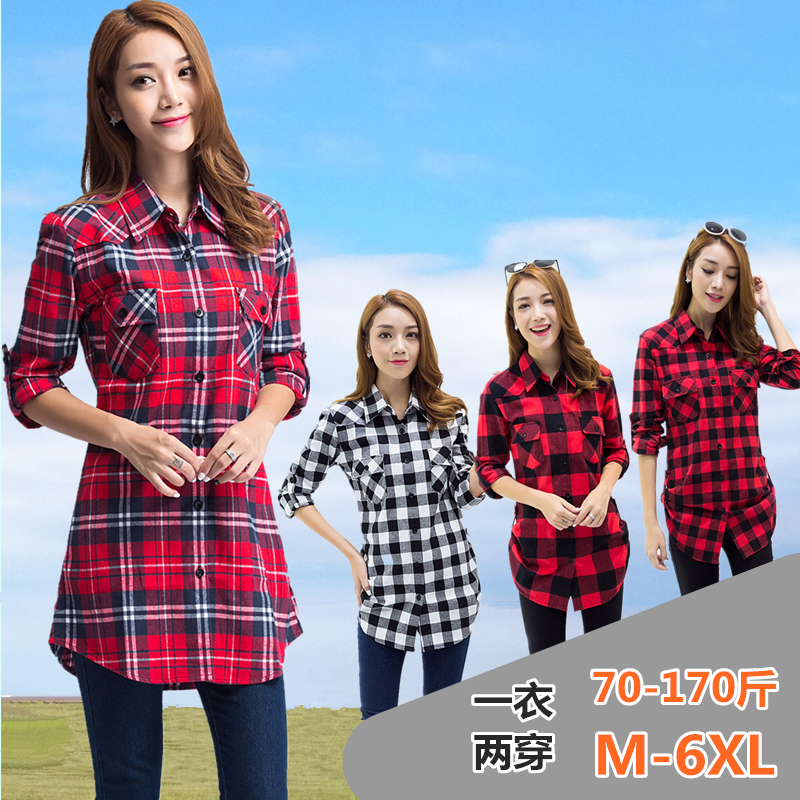 Spring and autumn Korean slim girl cotton square Plaid medium length thin shirt