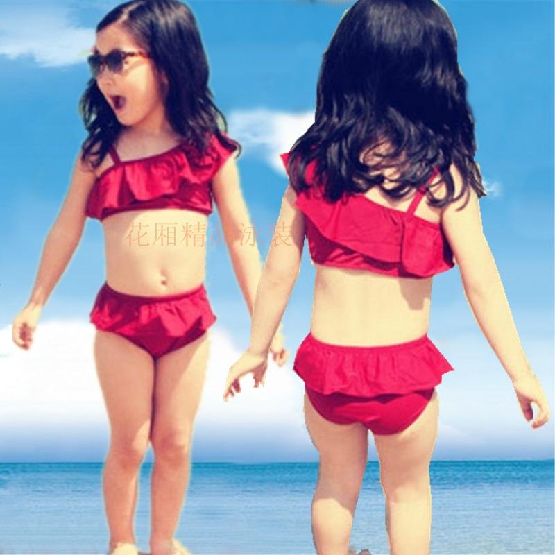Childrens swimsuit swimsuit girl cute girl baby bikini Korean version 1 / 2 / 3 / 4 / 5 / 6 / 7 / 8 years old