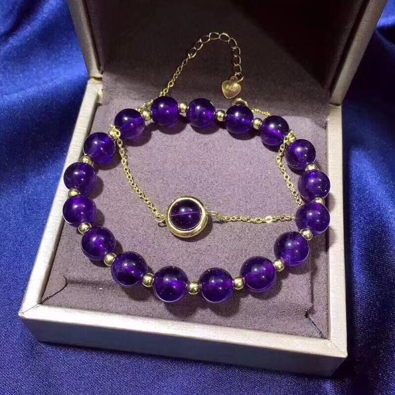 天然紫水晶手串925银镀金手链时尚复古潮流女款流行个性转运饰品