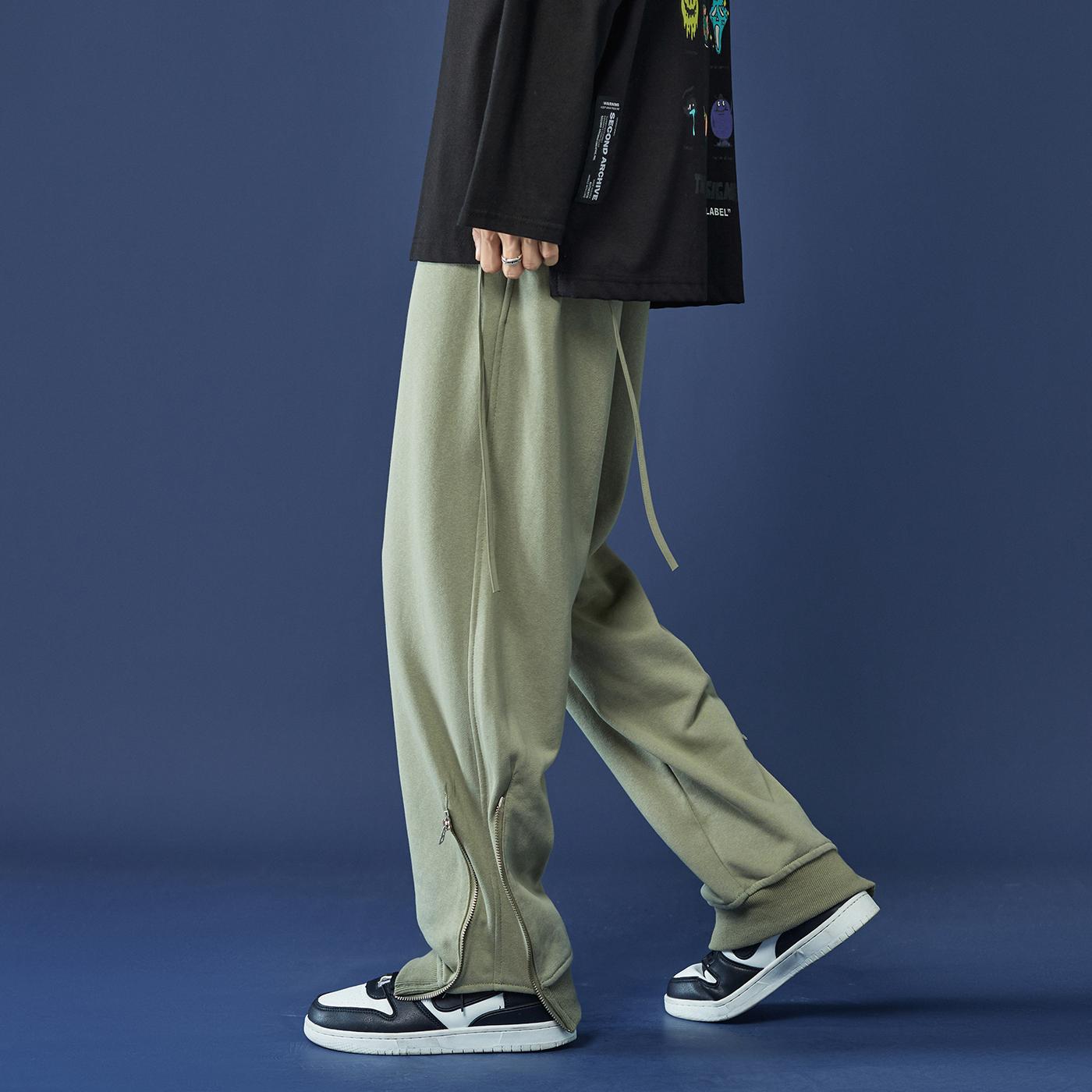 新款港风男女潮流拉链设计束脚卫裤休闲运动裤篮球裤 K28-P50