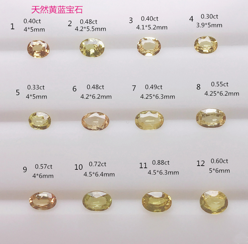 Pure natural yellow sapphire naked stone inlaid gold and Silver Ring Pendant 4 * 5mm4 * 6mm5 * 6mm