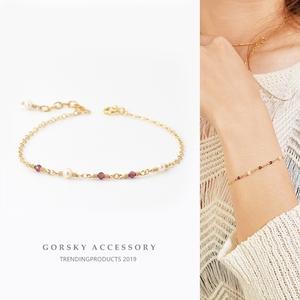GORSKY珍珠石榴石14k包金细手链女原创小众设计简约冷淡风手饰
