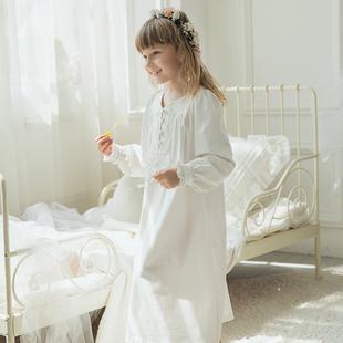 春夏棉宮廷風款女童純色睡衣可愛甜美親子長袖兒童睡裙寶寶家居服