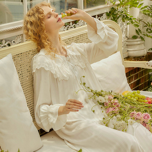 尘熙原创宫廷风睡裙女春秋薄款白色粉色长款宽松可外穿家居服睡衣